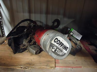 Air Hoist 2 Ton Coffing 20' Lift With Trolley