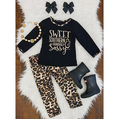 US Stock Baby Girls T-shirt+Leopard Legging Set Toddler Autumn Outfit Tracksuit