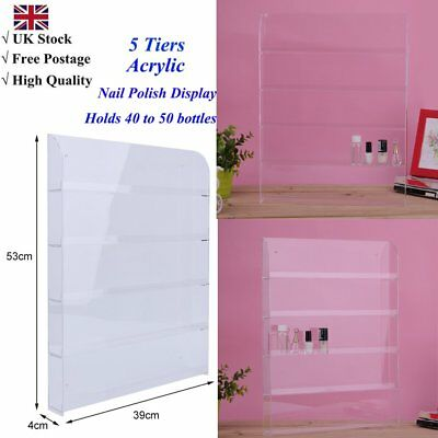 5 Tiers Wall Mounted Clear Acrylic Nail Polish Display Holds 40 to 50 bottles