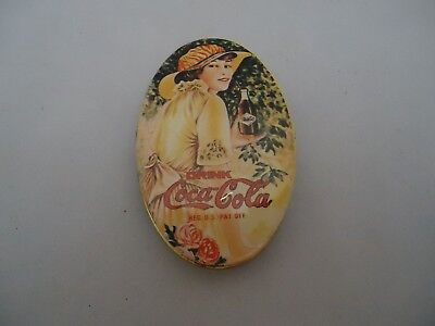 """Vintage Coca-Cola Oval Shaped Tin Sewing Kit Advertising Collectible 2.75"""""""