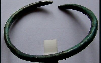 Authentic Medieval Viking Bronze Bracelet W/ Snake Heads