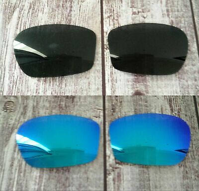 IR 2 Pairs Polarized Replacement Lens for-Oakley Chainlink Sunglass -Black*Blue