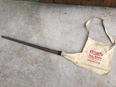 Vintage Horn Seed/Corn Sower Bag Urbana Indiana Primitive Farm Tool Planter