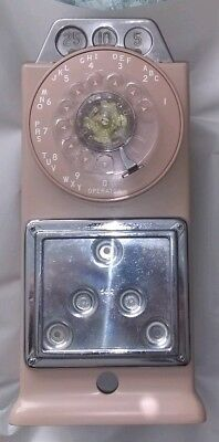 Pink GTE / Automatic Electric Company 3 Coin Slot Rotary Dial Pay Phone Part NOS