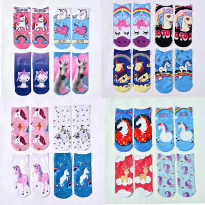 1 Pair Unisex Unicorn Socks Cotton 3D Printed Animal Low Ankle Sock Xmas Gift