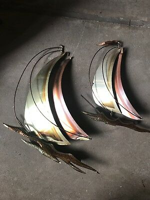 Vintage Mid Century Modern Metal Brass Copper Look Wall Hanging Sail Boats Decor