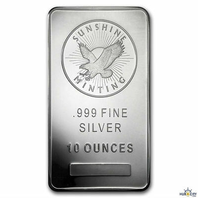 Sunshine Mint 10oz .999 Fine Silver Bar Mint Mark SI Sealed