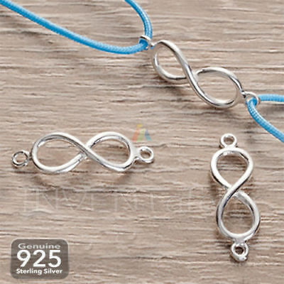 925 Sterling Silver Infinity Connector Charm Necklace Bracelet DIY Making