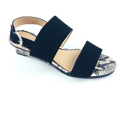 304713675 JUDITH RIPKA SANDALS Womens Black Suede Leather Wedge Shoes 7.5 M Snakeskin  ZOE -  41.80