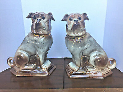Antique Pair of Scottish Bo'ness Pottery Pug Dogs.  Glass Eyes.  Late Victorian