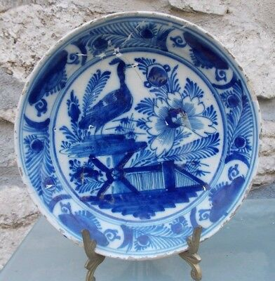 18th Century Delft Pottery Bowl Bird & Flower Decoration Blue/White Has Repairs
