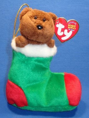 """Ty Beanie Babies Retired 2003 Holiday Christmas Bear """"Stockings"""" MINT WITH TAGS"""