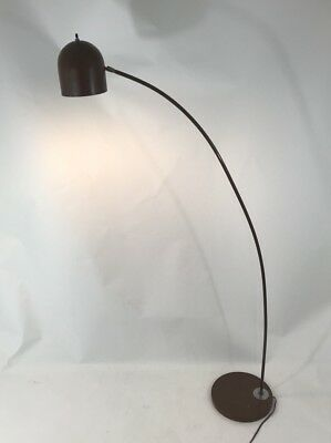 Mid Century Modern Brown Dome Bent Floor Lamp Brown Metal Reading Light