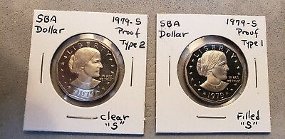 1979-S Proof SBA Dollars Type 2 and Type 1 (Two Coins)