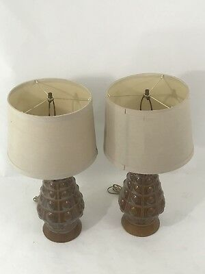 VINTAGE CHILO Orb Table Lamp Set Light Mid Century Pine combs Style