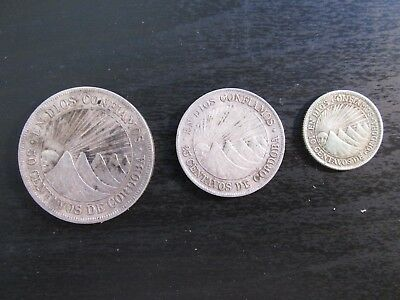 Set of 3 Nicaragua Silver Centavos Coins (50, 25, 10) in XF Condition #4
