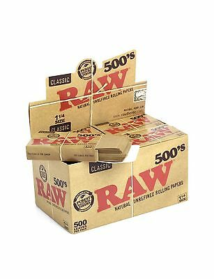 1x RAW 500's 1 1/4 Size Cigarette Rolling Papers - ONE FLAT PACK - 500 Leaves
