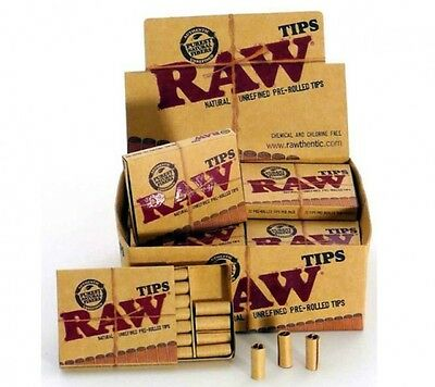 1 Pack - RAW PRE ROLLED Natural UnRefined Cigarette Filter Rolling Paper Tips