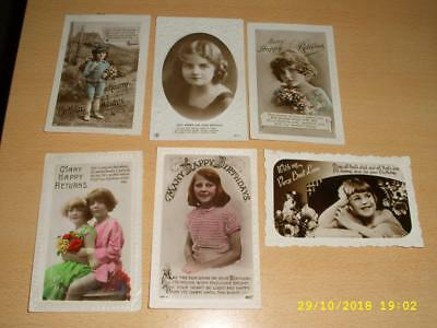 Beautiful Children   - Collection Of Vintage Deckle Edge Greeting  Postcards