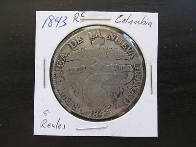 1843RS Republic of New Granada (Columbia) Silver 8 Reales