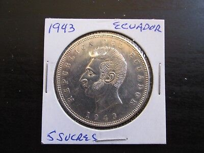 1943 Ecuador Silver 5 Sucres in MS Condition (Hairlines)