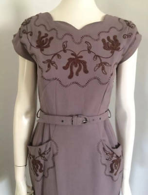 Original Vintage 40s 50s Embroidered Dress, wiggle Pencil,Pinup Swing Rockabilly