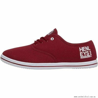 New Henleys Burgundy Red Mens Lace Up Canvas Plimsoles Shoes Trainers