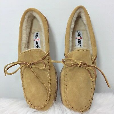 59f12007a91e6 Mens Minnetonka Slippers ~ 3901 Tan Suede Pile Lined Moccasin Hardsole Size  12
