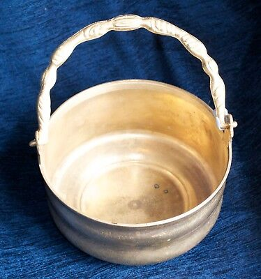 Vintage Solid Brass Jardiniere cauldron with Handle Heavy