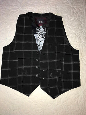 MENS  Victorian Edwardian Sherlock Holmes Dickens VEST size S black plaid