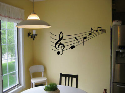 Music Staff And Notes Vinyl Wall Decal Sticker Decor Lettering Words Piano 23""