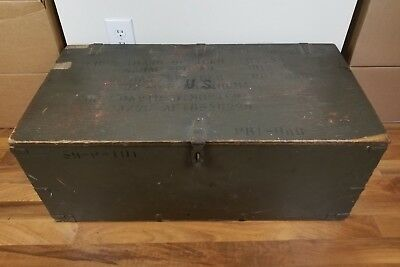 Vintage 1953 US Military Wood Foot Locker Trunk Chest Green Coffee Table READ