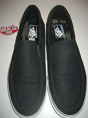 9a9a3fe01462c3 Vans Mens Bali SF Slip on Hemp Black Marshmallow Skate Surf shoes Size 13  NWT