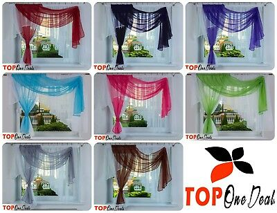 Amazing Voile Net Curtains Ready Made Modern Red Green Blue Grey Black Pink New