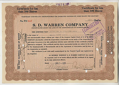 1929 S.d. Warren Company Stock Certificate - Massachusetts