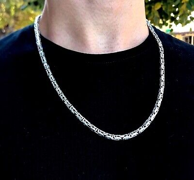 5mm King Byzantine Mens Chain Necklace Pendant 925 Sterling Silver 74GR 26Inch