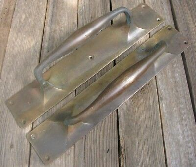 Large Old Pair of Reclaimed Solid Brass Door Handle Pulls / Shop Pub Bar 14""