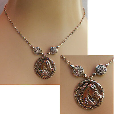 Horse Necklace Silver Pendant Jewelry Handmade Chain Head Women Fashion Animal