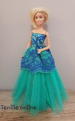 New Barbie clothes outfit princess wedding dress gown green blue lace and shoes