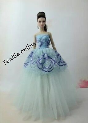 New Barbie clothes outfit princess wedding dress gown blue purple lace and shoes