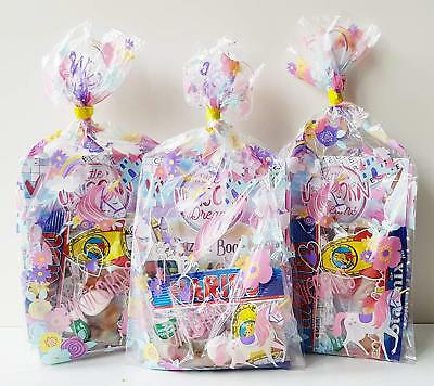 10 x UNICORN THEMED PRE FILLED KIDS GIRLS PARTY LOOT BAGS FOR BIRTHDAYS