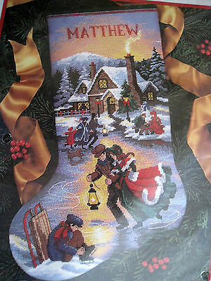 Dimensions Christmas Holiday Needlepoint Stocking Kit,MOONLIGHT SKATERS,9109,16""