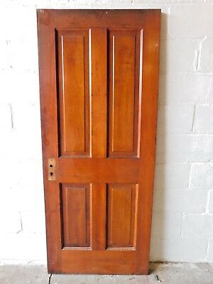 Antique 1800's Wooden DOOR Interior Four Raised Panel Victorian Style Fir ORNATE