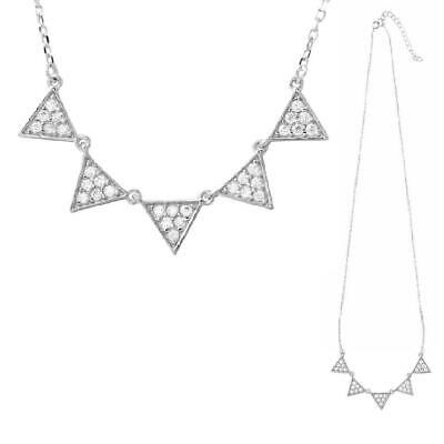 3213d8a5afb9e Argent Sterling Collier W/Zircone Pierres Cinq Triangles Pendentif