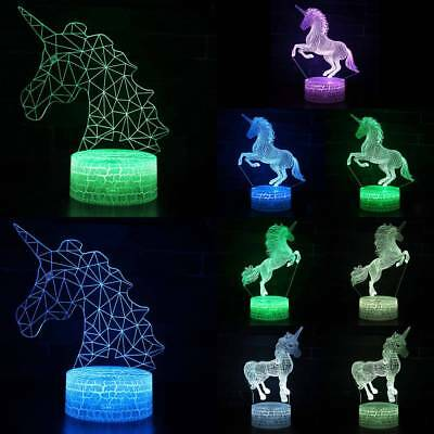 Remote & Touch Control 3D LED Night Light Unicorn Change Desk Lamp Kid Xmas Gift