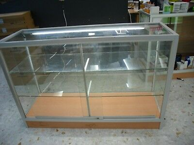 Full Visibility Glass Shop Display Counter Cabinet with 2 Glass Shelves
