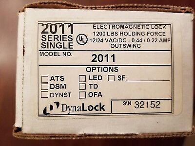 DynaLock 2011 Series Electromagnetic Lock 1200 lbs Holding Force Outswing