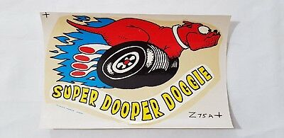 Original Retro Novelty Waterslide Decal / Super Dooper Doggie