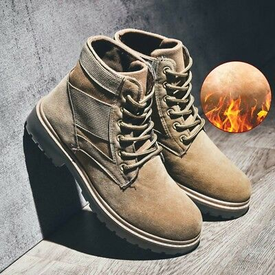 Winter Mens Warm Combat Shoes Outdoor Cotton Booties Military Martin Ankle Boots