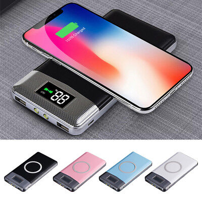 12000mAh Power Bank Qi Wireless Charging 2 USB LED Portable Battery Charger US
